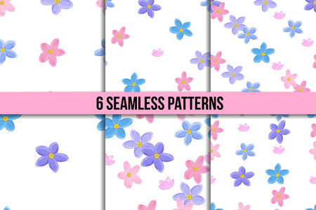 forget: Floral seamless pattern set with forget-me-not. Vector backgrounds with flowers. Illustration