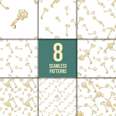 Seamless pattern set. Gold vintage keys. Digital Paper
