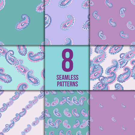Seamless paisley pattern set. Asian abstract vector background collection.