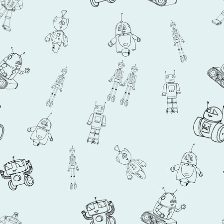 Seamless robot doodle pattern on light blue. The concept of science and the future. Cartoon style. Hand-drawn outline illustration. Illustration