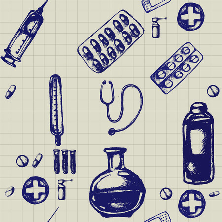 Healthcare and medicine. Vector doodle seamless pattern with thermometer, heart, stethoscope and pills. Medical hand drawn icons on checkered background. Illustration