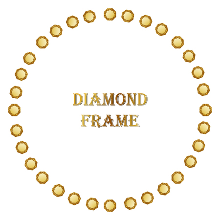 jewerly: Diamonds round frame. Vector illustration jewelry. Abstract vector border on white background. Illustration