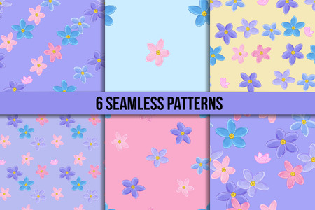 Floral seamless pattern set with forget-me-not. Vector backgrounds with flowers. Stock Photo