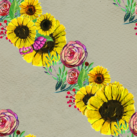 Seamless pattern with sunflowers. Floral watercolor background.