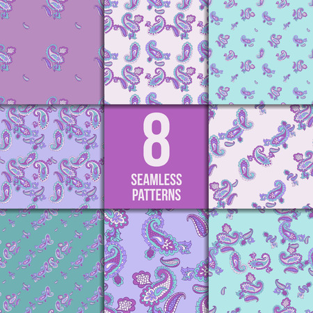 magnificence: Seamless paisley pattern set. Asian abstract vector background collection.