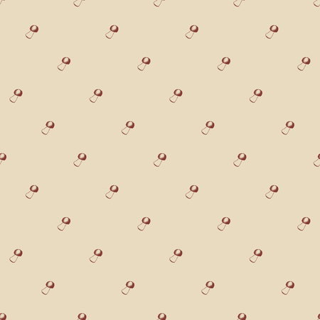 Hand drawn seamless pattern with mushrooms. Vector doodle illustration. Sketchy small boletus.