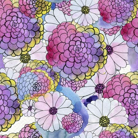 과꽃, 데이지 꽃과 원활한 플로랄 패턴 스톡 콘텐츠