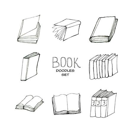 Book doodles set Stock Photo
