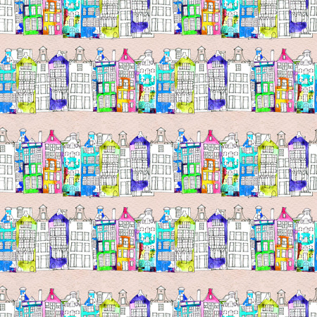 city center: Netherlands houses hand drawn seamless pattern. Doodle background. Watercolor illustration with Amsterdam city. Old town. City center, historic buildings. Europe.