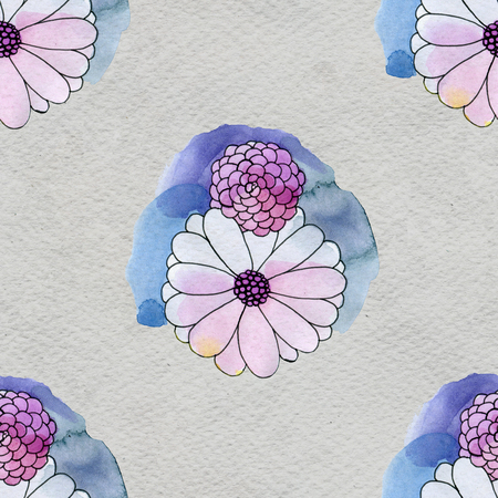 aster: Seamless floral pattern with asters and daisy flowers
