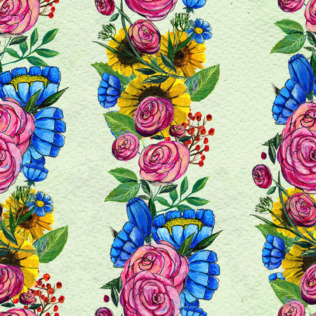 Seamless pattern with colorful flowers. Floral watercolor background. Blue wildflowers, pink roses and sunflowers. Stock Photo