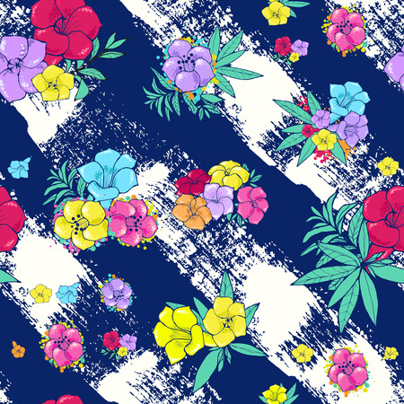 whiteblue: Exotic colorful flowers on a white-blue background with stripes