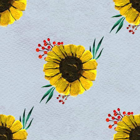 briar: Seamless pattern with sunflowers