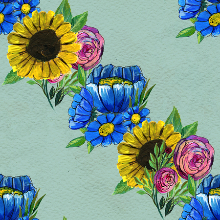 briar: Seamless pattern with colorful flowers. Floral watercolor background. Blue wildflowers, pink roses and sunflowers. Stock Photo