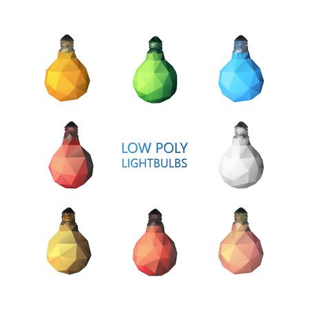 Low poly light bulbs set.