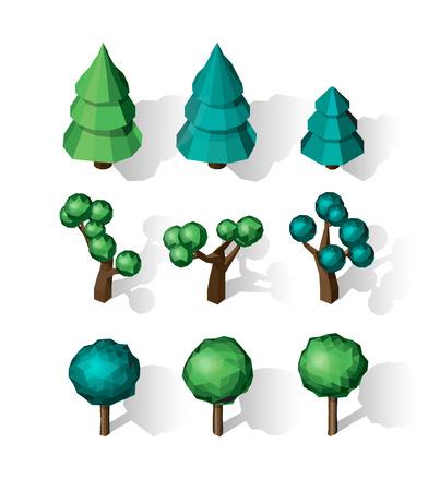 Isometric vector tree set. Landscape constructor kit.