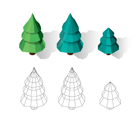 Isometric vector tree set. Landscape constructor kit.