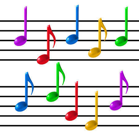 Music Staff and colorful notes on white background. 3d realistic vector illustration.