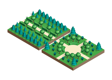 rural road: Isometric view projection summer landscape.