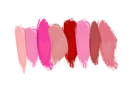 Collection of lipstick smears on white background