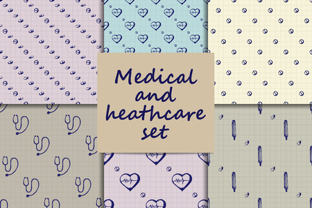 Vector doodle seamless paterns. Medicine icons set