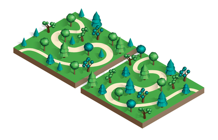 Isometric view projection summer landscape. Nature appearance of park with trees. Set of two locations. Stock vector. Illustration