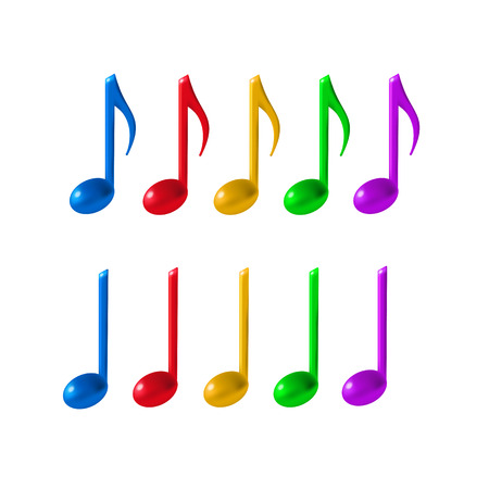 Ten colorful music notes on white background. 3d realistic vector icon set created with gradient mesh.