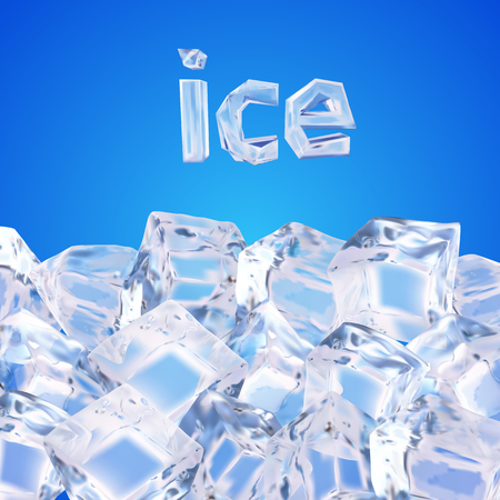 refrigerate: Blue background with ice cubes