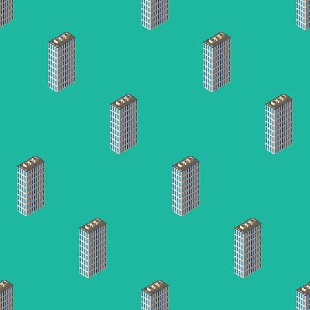 Isometric buildings seamless pattern Illustration