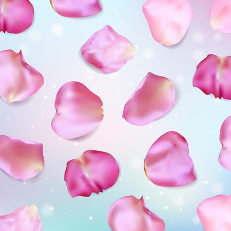fallen: Pink rose petals. Realistic vector illustration Illustration