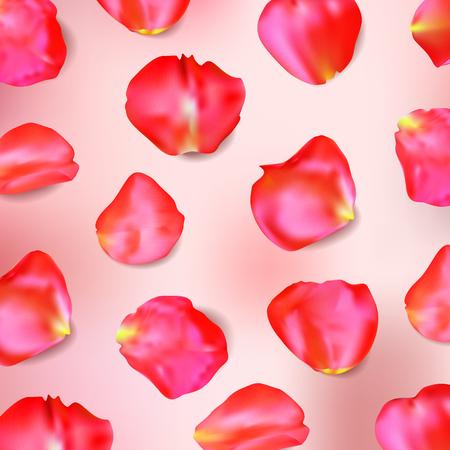Red rose petals. Realistic vector Illustration