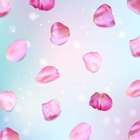 Pink rose petals. Realistic vector illustration Stock Photo