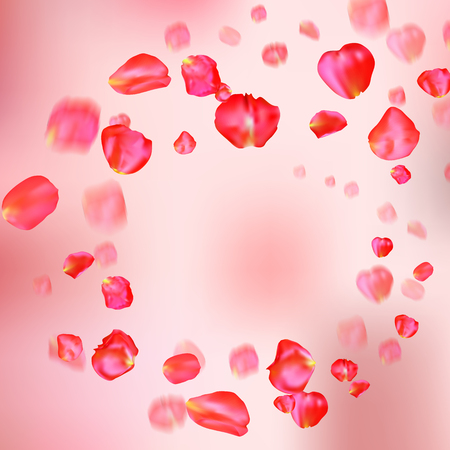 fallen: A lot of falling red rose petals on pink background.