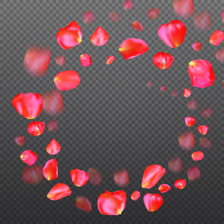 A lot of falling red rose petals on transparent background. Vector illustration. Round shape. Frame or border - template for greeting card or wedding invitation