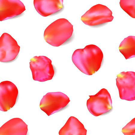 fallen: Red rose petals. Realistic vector Illustration
