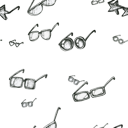 sketched shapes: Seamless pattern with sunglasses