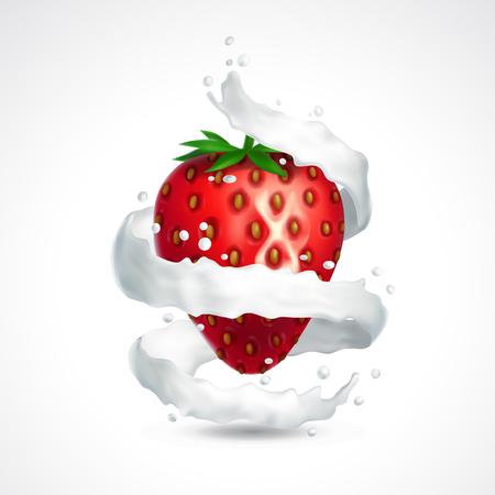 jet stream: Strawberry and milk splash