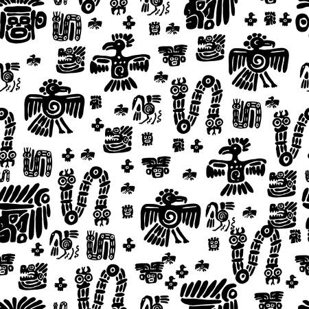 Seamless maya pattern. Black and white ethnic elements. 向量圖像