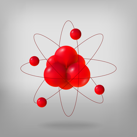 Abstract molecules. Atoms. 3d vector illustration protons neutrons and electrons. Science concept. Nuclear energy