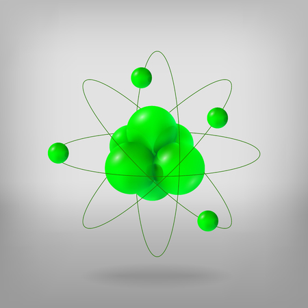 Abstract molecules. Atoms. 3d vector illustration protons neutrons and electrons. Science concept
