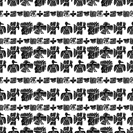 Seamless vector maya pattern. Black and white ethnic elements. Tribal doodles ornament. Abstract ancient symbols birds, animals and faces.
