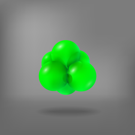 Abstract molecules. Atoms. 3d vector illustration. Science concept. Nucleus. Protons and neutrons