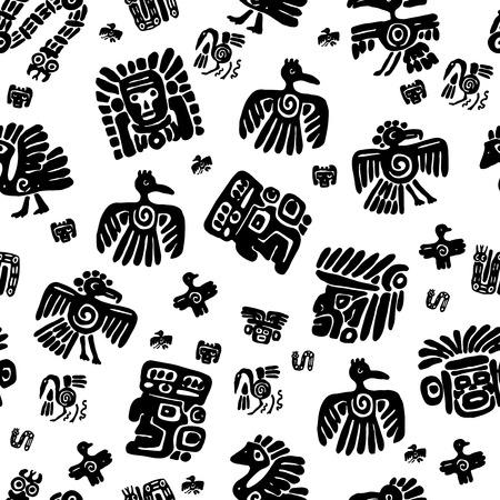 Seamless maya pattern. Black and white ethnic elements. Çizim