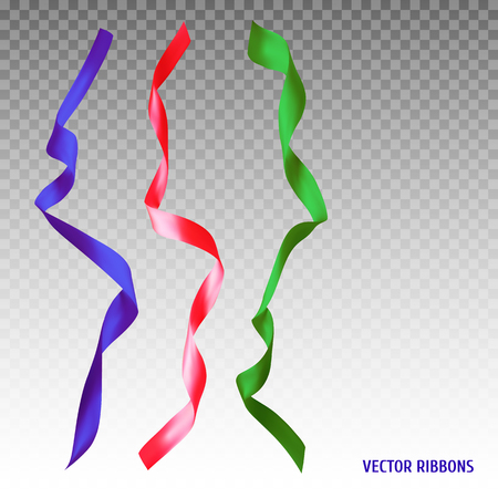 Set of three colorful ribbons