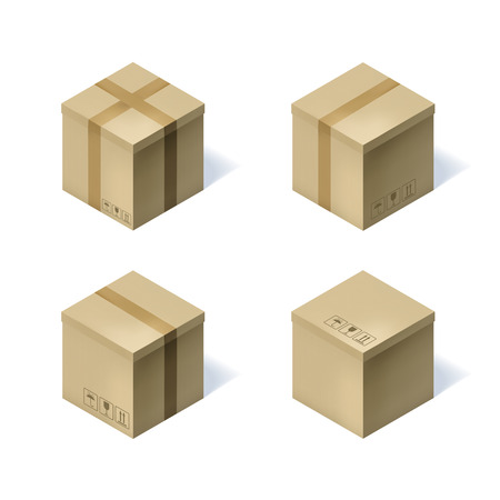 empty warehouse: Set of four isometric cardboard boxes isolated on white.