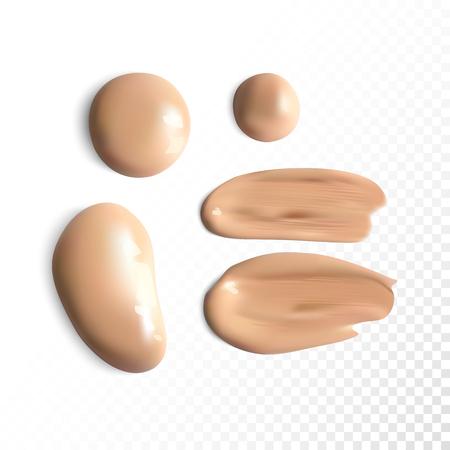 Cosmetic concealer smear strokes, tone cream smudged Vector. Фото со стока