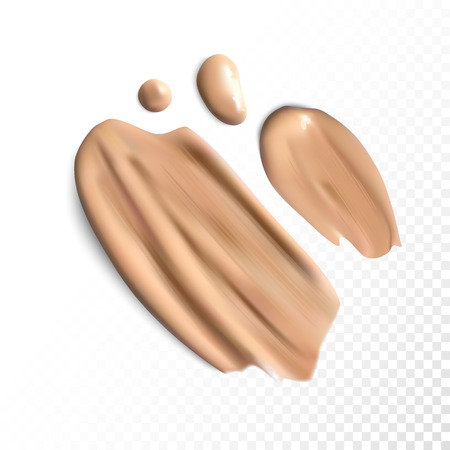 Cosmetic concealer smear strokes, tone cream smudged Vector. Illustration