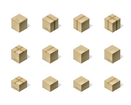 Set of twelve isometric cardboard boxes isolated on white.