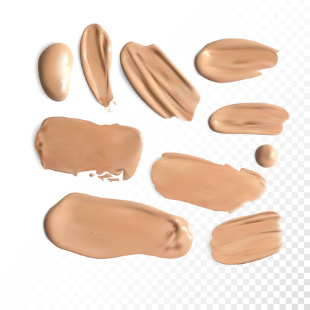 smudged: Cosmetic concealer smear strokes, tone cream smudged Vector. Illustration