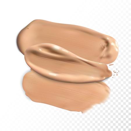 Kosmetische Concealer Schmierstriche, Ton Creme verschmiert Vektor. Vektorgrafik